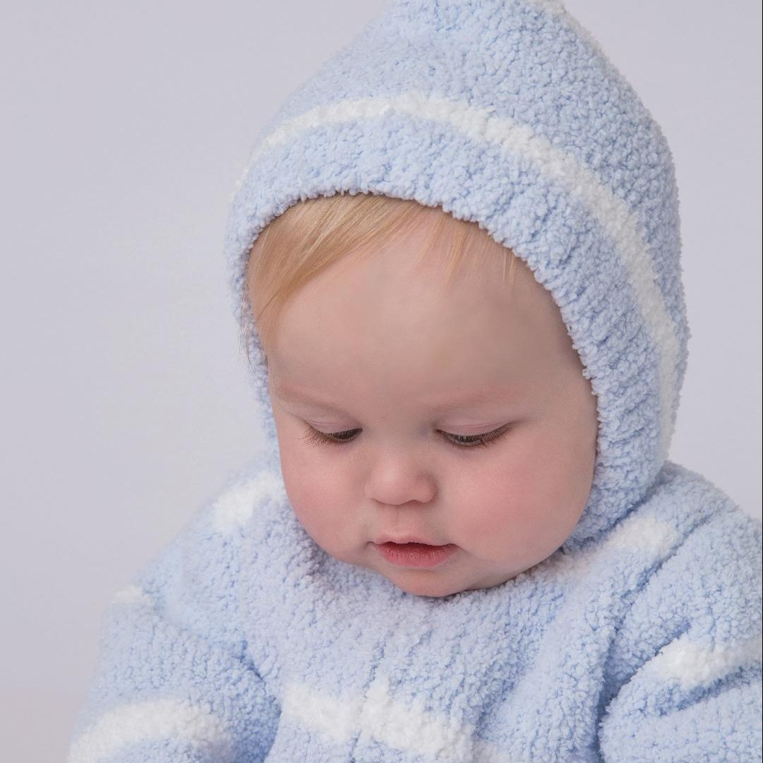 Blue And Ivory Stripe Chenille
